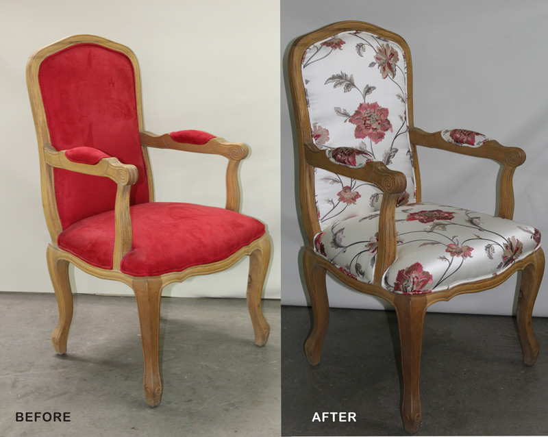 armchair upholstered before and after