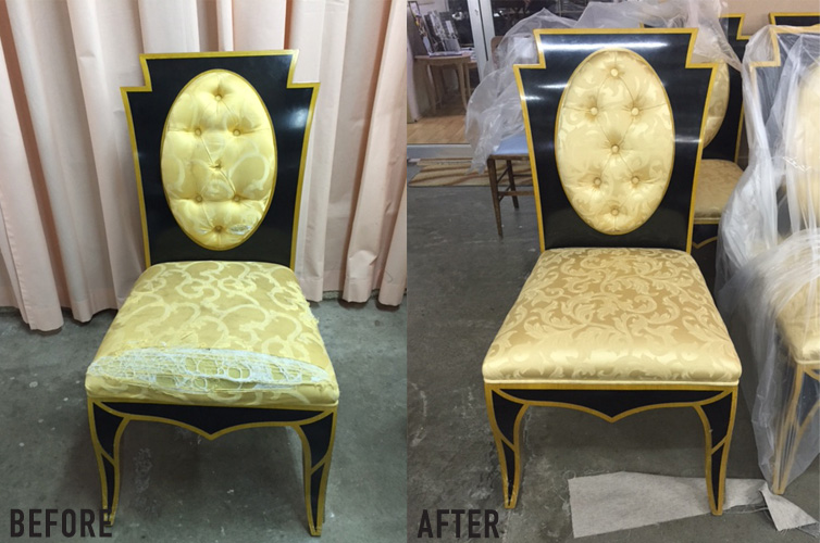 Dining chair before and after