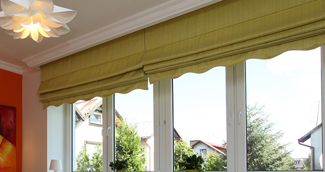 Motorised Roman Blind with valance