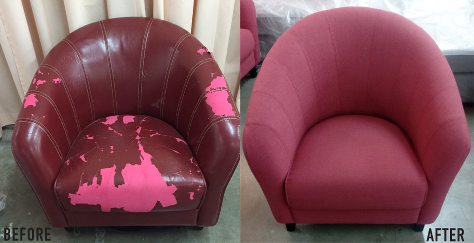 Reupholstery of chair before and after