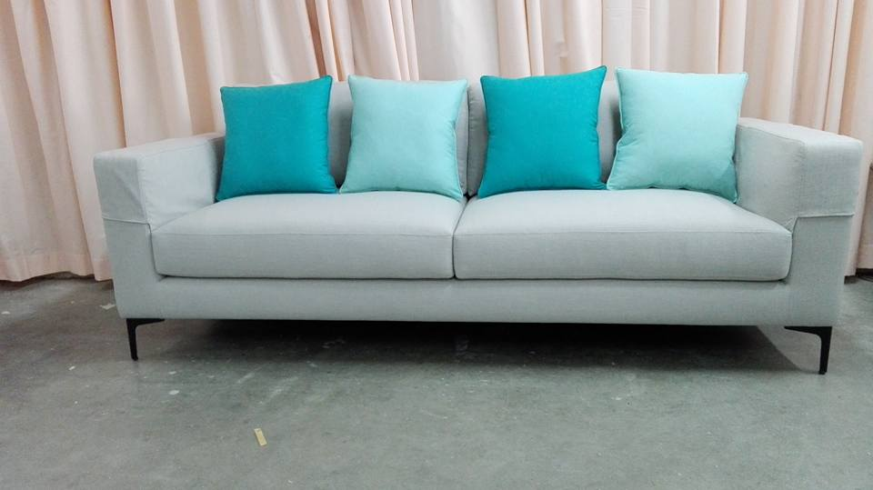 Sofa with Blue Cushions