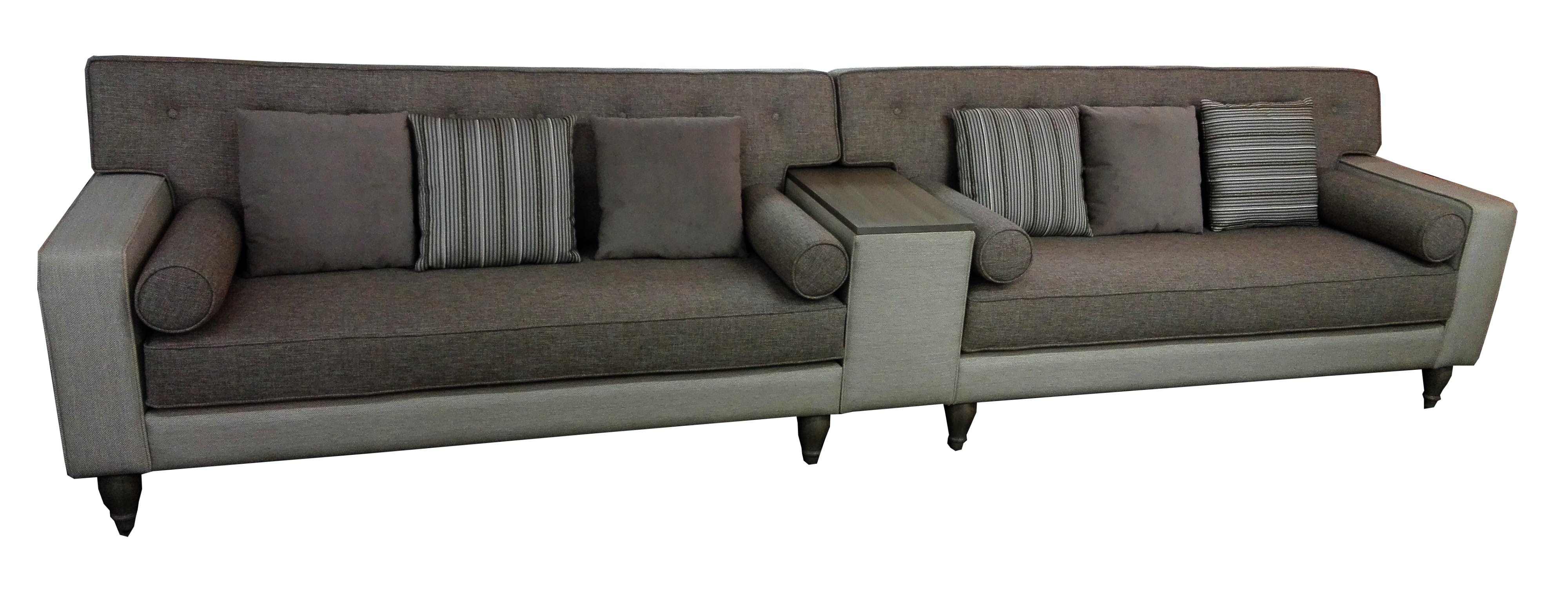 Sofa with wood armrest background white