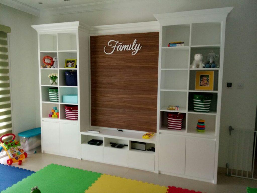 White cabinet with storage